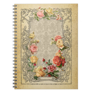 Romantic Vintage Sculpted Style Roses Spiral Notebook