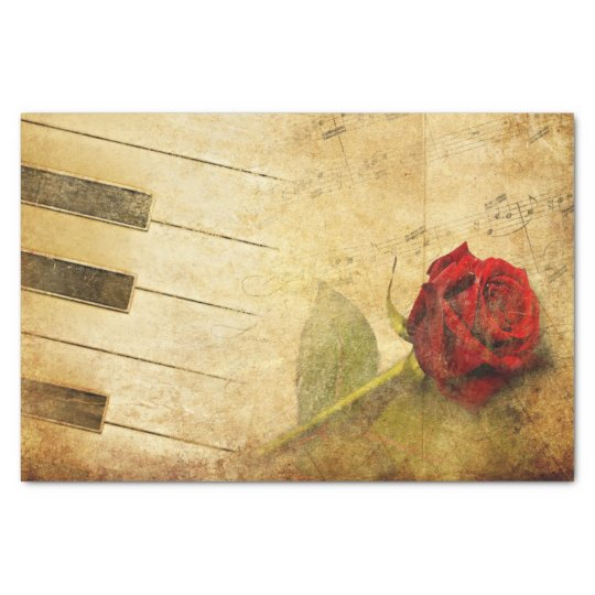 Romantic Vintage Sheet Music with Rose Tissue Pape