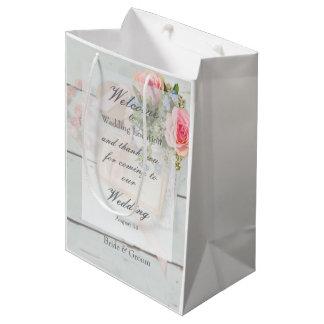 Romantic vintage spring flower editable wedding medium gift bag