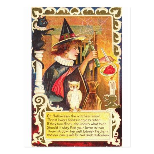 Romantic Vintage Witch Postcard