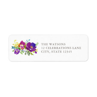 Romantic Violet Floral Address Label