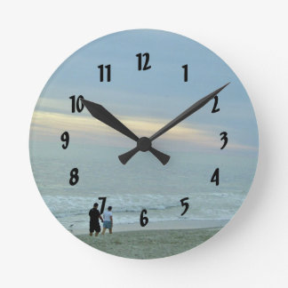 Romantic Walk Along The Beach Round Wall Clock