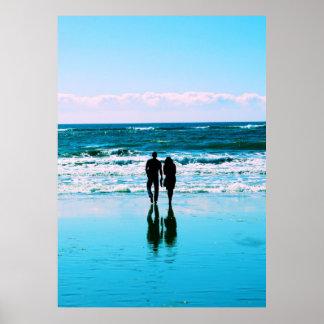 Romantic Walk on the Beach Poster