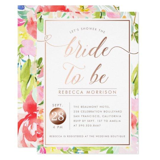 Romantic Watercolor Floral Bridal Shower Invite