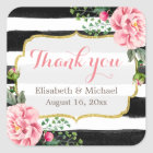 Romantic Watercolor Floral Gold Striped Thank You Square Sticker