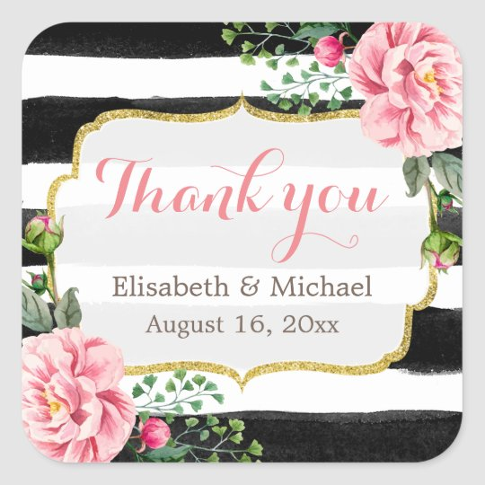 Romantic Watercolor Floral Gold Striped Thank You Square