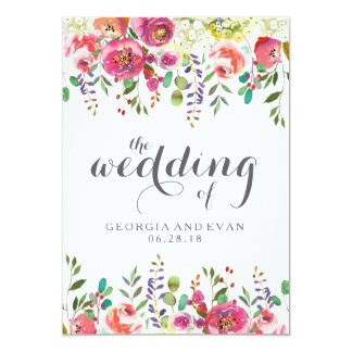 Romantic Watercolor Floral Wedding Invitations