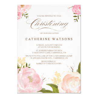 Romantic Watercolor Flowers Christening Invitation