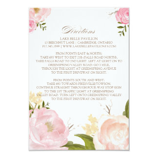 Romantic Watercolor Flowers Directions Card 9 Cm X 13 Cm Invitation Card
