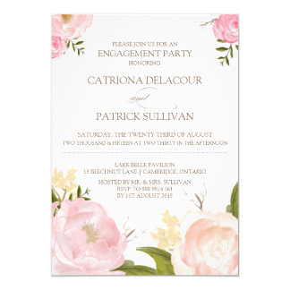 Romantic Watercolor Flowers Engagement Invitation