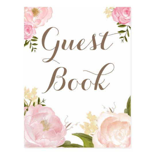 Romantic Watercolor Flowers Guest Book Wedding Postcard