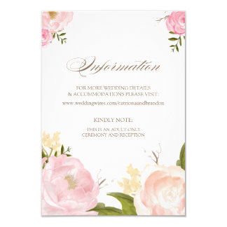 "Romantic Watercolor Flowers Information Card 3.5"" X 5"" Invitation Card"