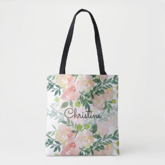 romantic watercolor flowers pattern tote bag