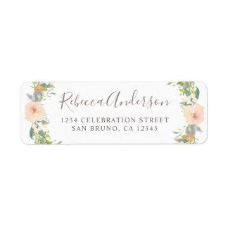 Romantic Watercolor Flowers Return Address