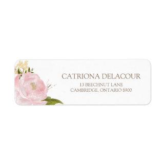 Romantic Watercolor Flowers Return Address Label