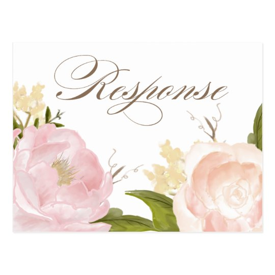 Romantic Watercolor Flowers RSVP Postcard III