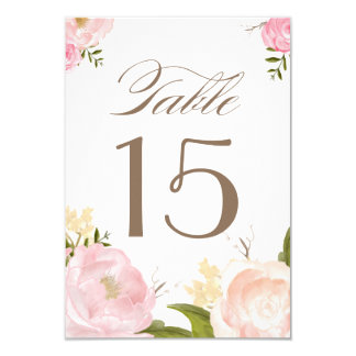 Romantic Watercolor Flowers Table Numbers Card