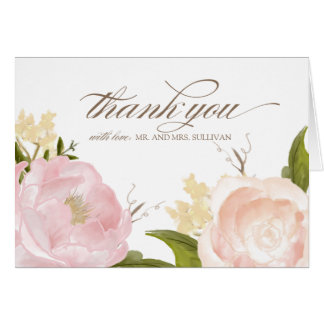 Romantic Watercolor Flowers Thank You Card