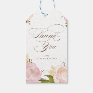 Romantic Watercolor Flowers Thank You Gift Tag