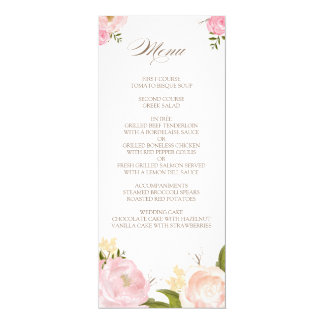 Romantic Watercolor Flowers Wedding Menu Card