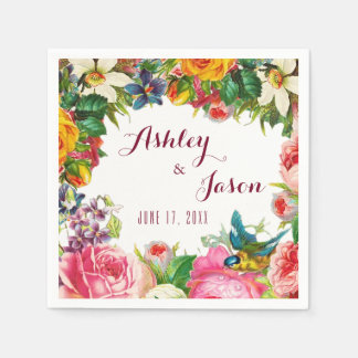 Romantic Watercolor Flowers Wedding Paper Serviettes