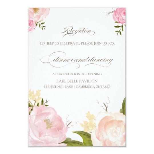 Romantic Watercolor Flowers Wedding Reception Card