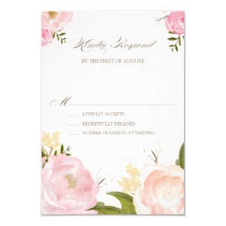 Romantic Watercolor Flowers Wedding RSVP Card 9 Cm X 13 Cm Invitation Card