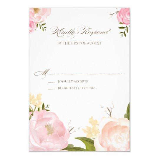 Romantic Watercolor Flowers Wedding RSVP Card III