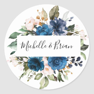 Romantic Watercolor Navy Blue Blush Rose Floral Classic Round Sticker