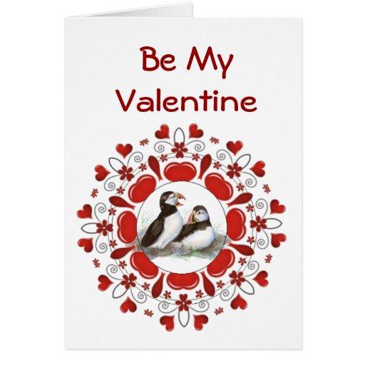 Romantic  Watercolor  Puffin Bird  Valentine Cards