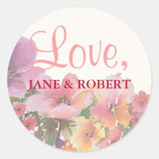 Romantic Watercolor Wedding Flowers Round Sticker