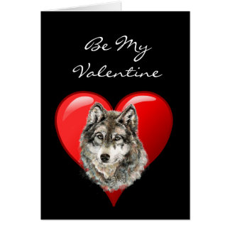 Romantic  Watercolor Wolf Valentine Card