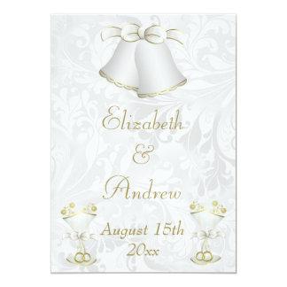 Romantic Wedding Bells & Champagne Flutes 13 Cm X 18 Cm Invitation Card