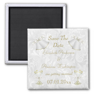 Romantic Wedding Bells & Champagne Flutes Refrigerator Magnet