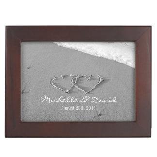 Romantic wedding keepsake box with hearts in sand