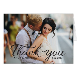 Romantic Wedding Note Card Photo Thank You Cards