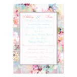 Romantic Wedding Pink Teal Watercolor Chic Floral Custom Invite