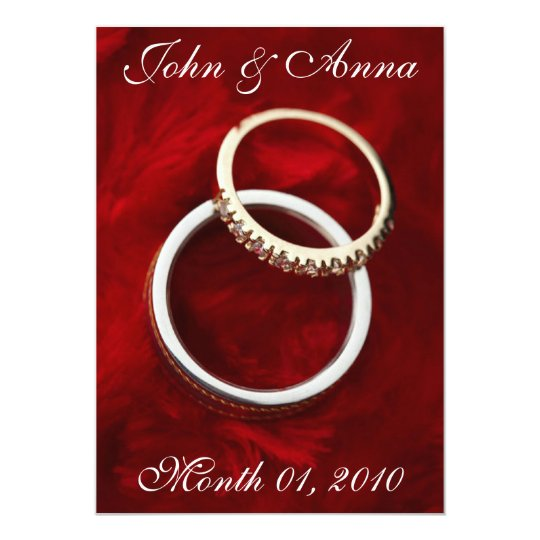 Romantic Wedding Rings on Red Invitations