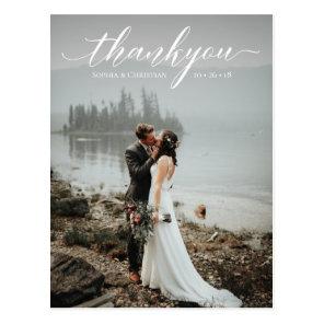 Romantic Wedding Script Thank You Postcard