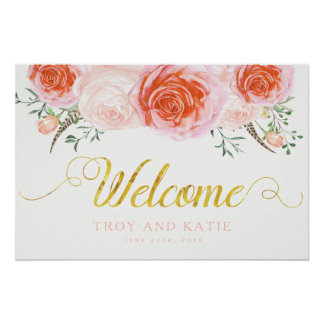 Romantic Wedding Welcome Sign Poster