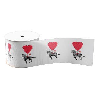 Romantic whimsical zebra and Valentines love heart Grosgrain Ribbon
