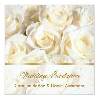 Romantic white - cream roses Wedding Invitation