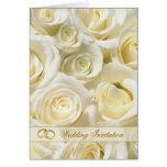 Romantic white-cream roses Wedding Invitation Card