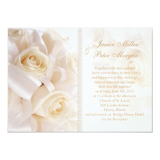 Romantic white cream rosess Wedding Invitation