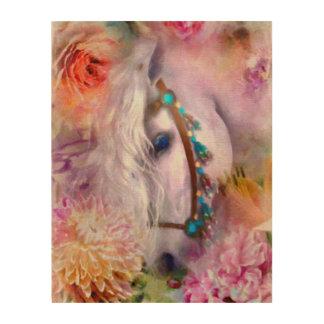 Romantic White Horse with Ladybug Wood Prints