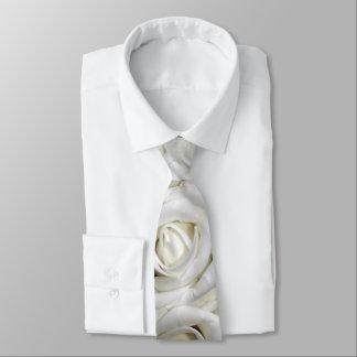 Romantic White lush blossom roses Tie