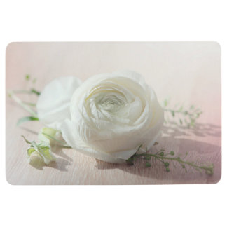 Romantic White Rose Floor Mat