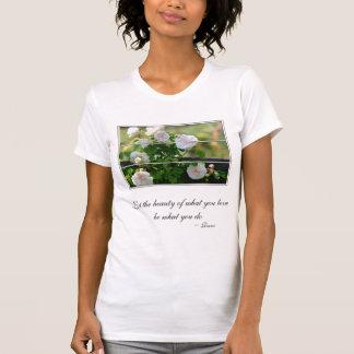 Romantic White Rose Rumi Quote T Shirt