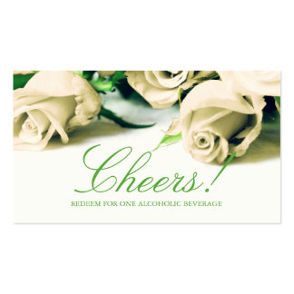 Romantic White Roses Wedding Drink Ticket Business Card Template