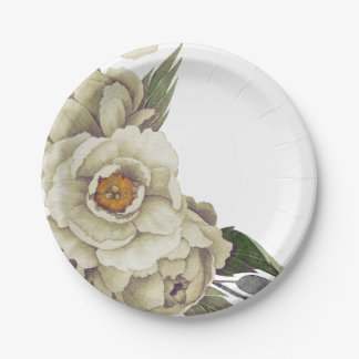 Romantic White Watercolor Peonies Floral 7 Inch Paper Plate